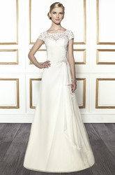 A-Line Scoop-Neck Floor-Length Draped Cap-Sleeve Chiffon Wedding Dress With Criss Cross And Appliques