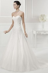 Sweetheart Beaded Bodice Bridal Gown With Removable Illusion Pearled Short Sleeves