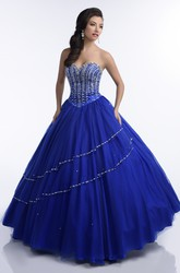 Sequined Corset Tulle Sweetheart Quinceanera Dress With Irregular Shining Detailing