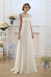 Sheath Floor-Length Bateau Sleeveless Empire Lace-Up Chiffon Dress With Lace