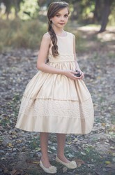 Tea-Length Tiered Sequined Tulle&Lace Flower Girl Dress
