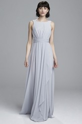 Ruched Scoop Neck Sleeveless Chiffon Bridesmaid Dress