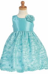 Floral Tea-Length Tiered Empire Tulle&Taffeta Flower Girl Dress With Embroidery