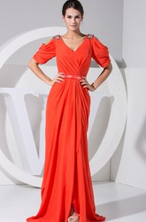 Half-Sleeve V-Neck Evening Gown with Front Split and Beading