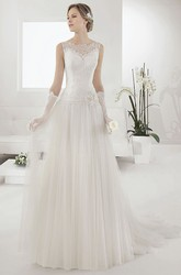 Illusion Bateau Neck Drop Waist Pleated A-line Gown With Waist Flower