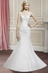 Mermaid Bateau Sleeveless Floor-Length Appliqued Lace&Satin Wedding Dress With Court Train And Illusion Back