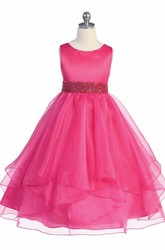 Tea-Length Beaded Tiered Sequins&Organza Flower Girl Dress With Ribbon