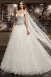 Sweetheart Brush-train A-line Wedding Dress with Beaded Corset