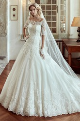 Off-shoulder A-line Wedding Dress with Half Sleeves and Court Train