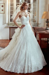 Sweetheart A-Line Wedding Dress with Multi-Tier Train and Beaded Belt