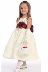 Floral Tea-Length Tiered Taffeta Flower Girl Dress With Embroidery