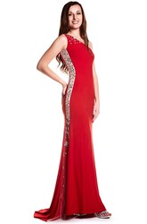 Sheath Sleeveless Floor-Length One-Shoulder Beaded Jersey Prom Dress With Low-V Back And Sweep Train