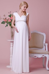 V-neck Cap-sleeve Jersey Maternity Wedding Dress With Beading