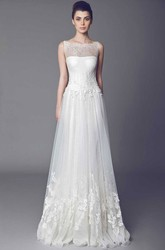 A-Line Sleeveless Appliqued Bateau Floor-Length Tulle Wedding Dress With Lace And Ruffles