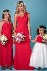 Sheath Sleeveless Ruched One-Shoulder Chiffon Bridesmaid Dress With Straps