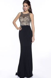 Sheath Jersey Sleeveless Prom Dress With Rhinestone Bodice And Keyhole Back