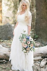 Bohemian A Line Half Sleeve V-neck Lace Wedding Dress