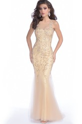 Sequined Mermaid Tulle Sleeveless Prom Dress Featuring Illusion Back