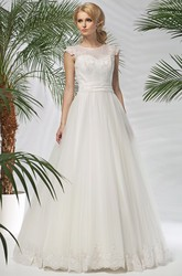 A-Line Appliqued Scoop-Neck Cap-Sleeve Long Satin&Tulle Wedding Dress