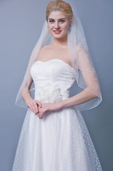 Floral Beaded Mid Length Two Tier Veil