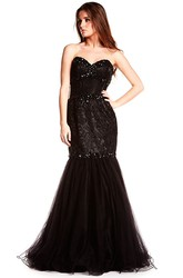 Mermaid Beaded Floor-Length Sleeveless Sweetheart Tulle Prom Dress With Backless Style And Lace