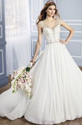 Ball-Gown Cap-Sleeve Beaded Long V-Neck Chiffon Wedding Dress With Court Train And Deep-V Back