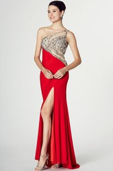 Sheath Sleeveless One-Shoulder Split-Front Jersey Prom Dress