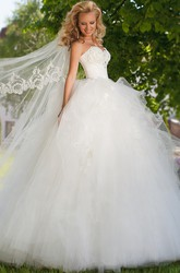Floor-Length Sweetheart Beaded Tulle Wedding Dress With Ruffles And Lace Up