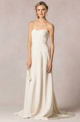 Sheath Strapless Long Sleeveless Satin Wedding Dress