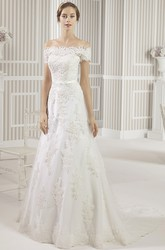 A-Line Appliqued Off-The-Shoulder Lace Wedding Dress