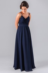 Floor-Length Criss-Cross Spaghetti Sleeveless Chiffon Bridesmaid Dress