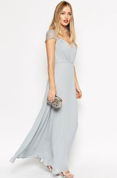 Sheath Floor-Length V-Neck Cap Sleeve Ruched Chiffon Bridesmaid Dress