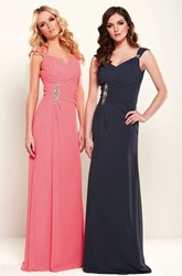 Sheath Floor-Length Sleeveless Ruched V-Neck Chiffon Bridesmaid Dress With Broach