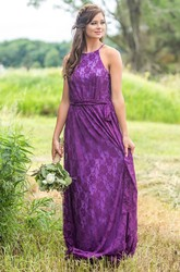 Lace Halter Long Bridesmaid Dress with Sash
