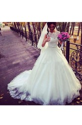Modest A Line Sheer Jewel Neck Lace Top Chic Bridal Gown