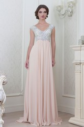 A-Line Cap-Sleeve Empire V-Neck Floor-Length Beaded Chiffon Evening Dress With Pleats