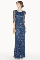 Scoop Neck 3-4 Illusion Sleeve Sheath Sequin Long Prom Dress With Beadings