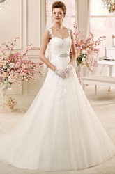 Square-neck A-line Wedding Dress with Beaded Waist and Appliques Straps