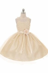 Ruffled Tea-Length Tiered Tulle Flower Girl Dress With Embroidery