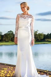Sweetheart Lace Satin Weddig Dress With Illusion