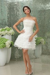 Vibrant Strapless Sleeveless  Short Wedding Gown With Apliques And Ruffles