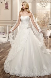 Strapless A-Line Lace Wedding Dress With Side Draping And Beaded Bodice
