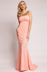 Sheath Sleeveless Floor-Length Scoop-Neck Beaded Jersey Prom Dress With Ruching