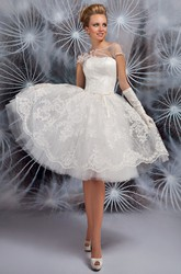 Bateau Short Appliqued Cap-Sleeve Tulle Wedding Dress