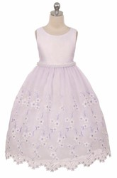 Tea-Length Floral Beaded Lace&Organza Flower Girl Dress With Ribbon