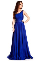 A-Line Sleeveless One-Shoulder Floor-Length Ruched Prom Dress With Straps And Beading