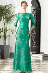 Sheath Floor-Length Bateau 3 4 Length Sleeve Lace Appliques Low-V Back Dress