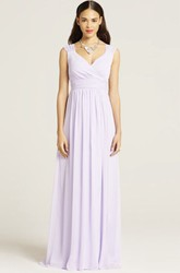 V-Neck Ruched Sleeveless Chiffon Bridesmaid Dress With Bow
