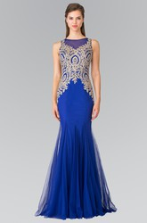 Trumpet Jewel-Neck Jersey Tulle Illusion Dress With Appliques And Beading