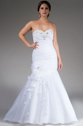 Crystal Sweetheart Mermaid Organza Bridal Gown With Floral Skirt